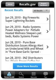 Recalls.gov Mobile App Screenshot
